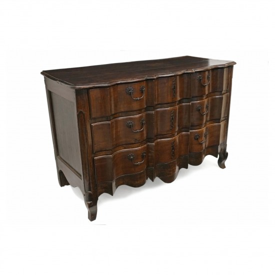 French Three Drawer 18th Century Walnut Commode
