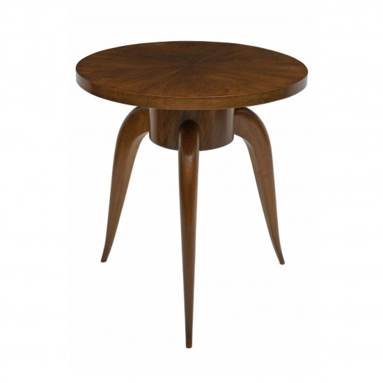 French Round Walnut Table with Tapering Legs