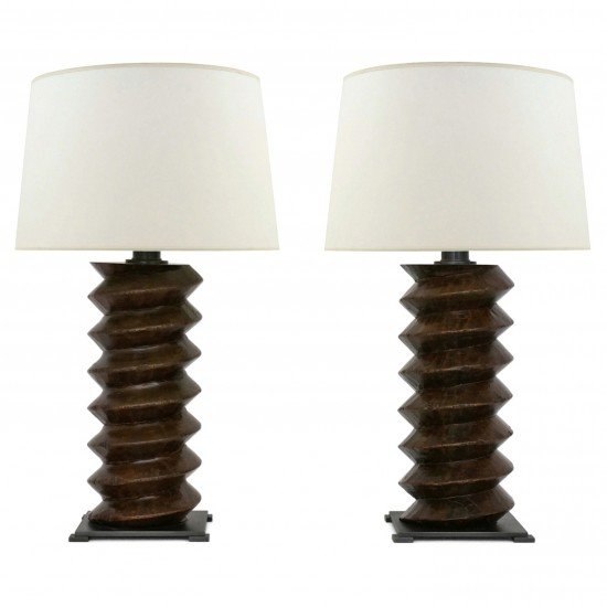 Pair of Wood Twist Lamps from Wine Press Elements