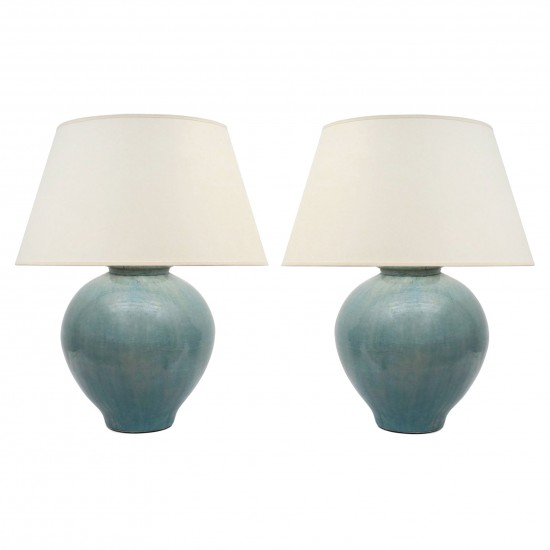 Pair of Light Blue Stoneware Lamps