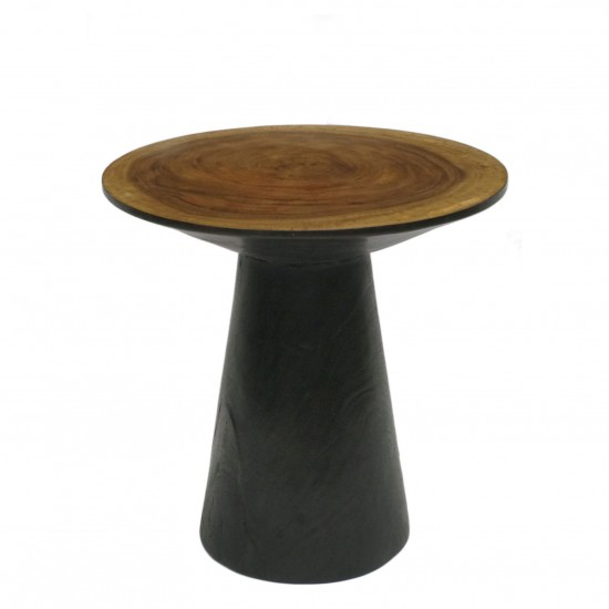 Circular Suar Wood Side Table with Tapering Base
