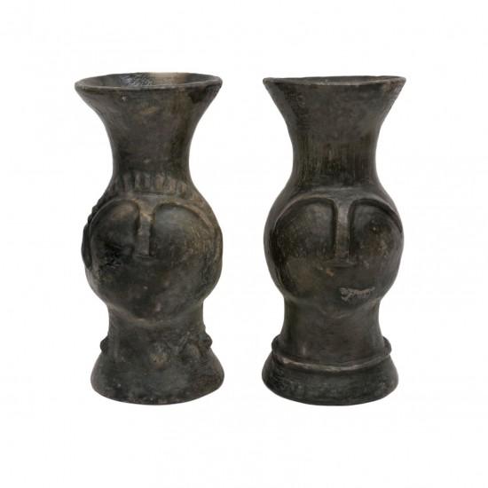 Sejnan Clay Head Vases B7899 Bk Antiques