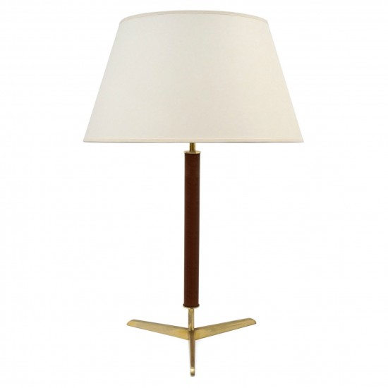 Brass and Leather Clad Table Lamp