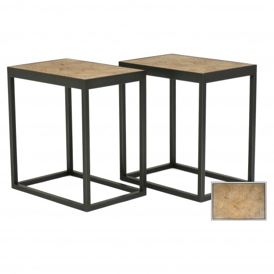 Pair of Steel Tables with Antique Oak Parquet Tops