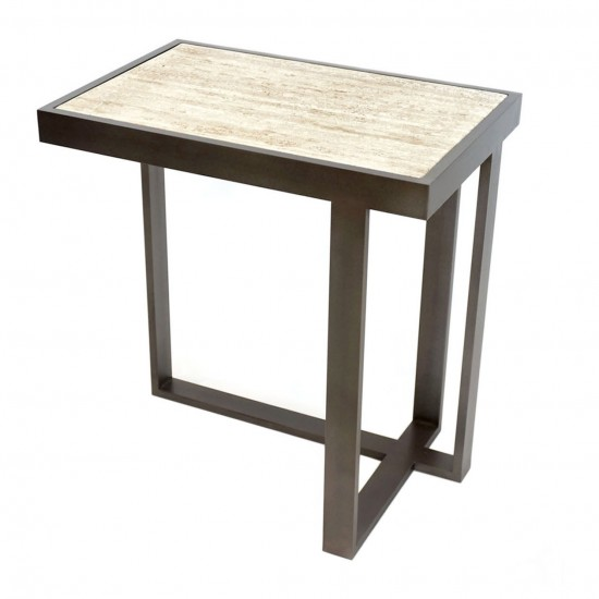 Rectangular Iron and Limestone Asymmetrical Drinks Table