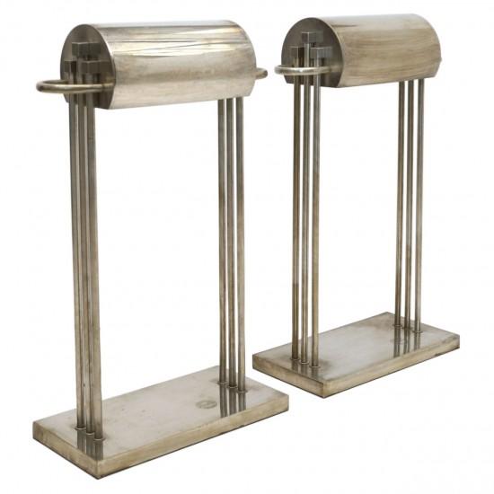 Pair of Nickel over Brass Marcel Breuer Table Lamps