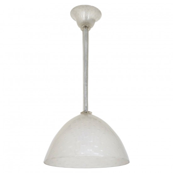 White Murano Glass Pendant Light by Seguso