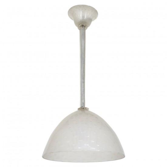 White Murano Glass Pendant Light by Seguso