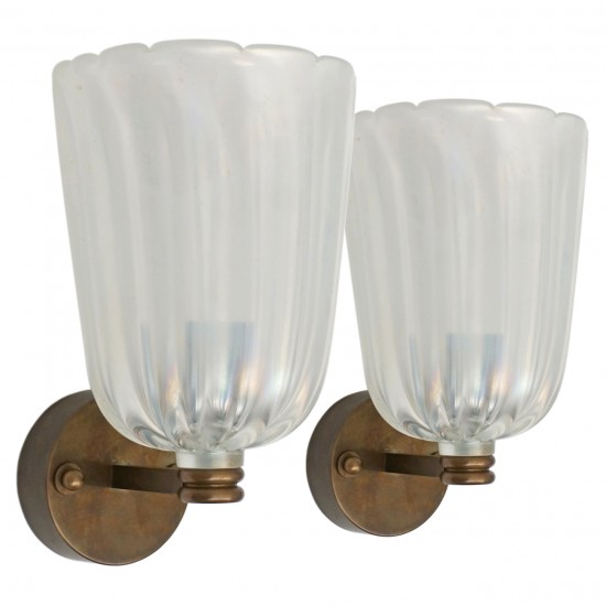 Pair of Iridescent Glass and Bronze Wall Sconces