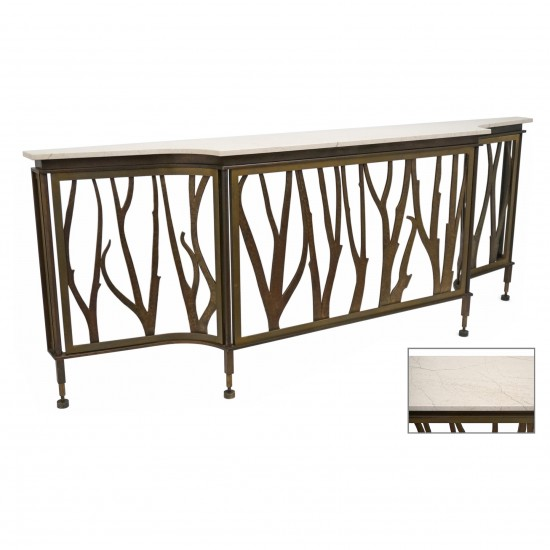 French Bronze and Travertine Console