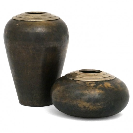 Dinanderie Vases with Brass Stepped Collars
