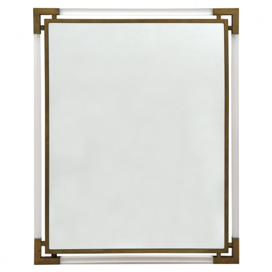 Italian Lucite and Brass Mirror