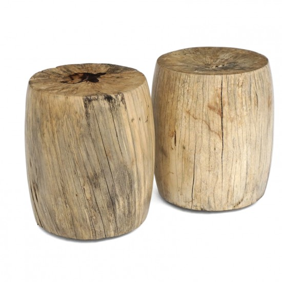 Circular Wood Stool or Side Table