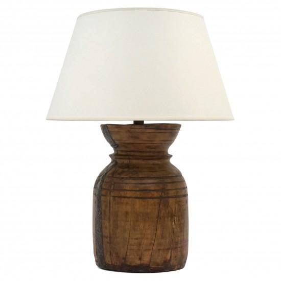 Antique Wood Milkpot Lamp