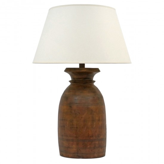 Antique Wood Milkpot Lamp