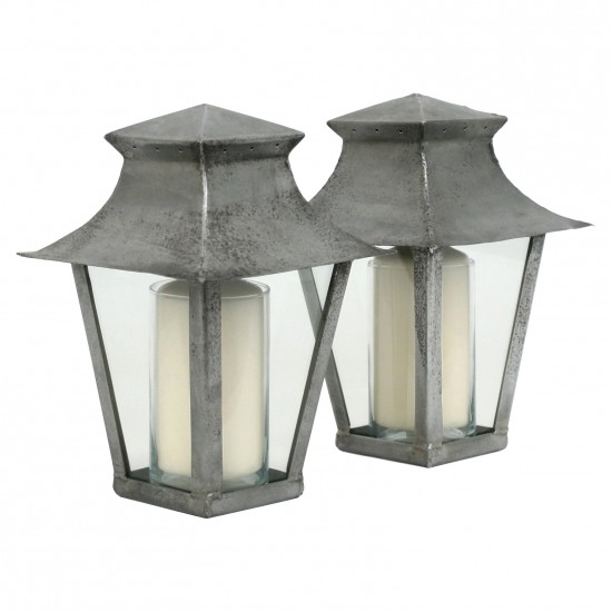 Pair of Polished Steel Lantern Form Candle Holders