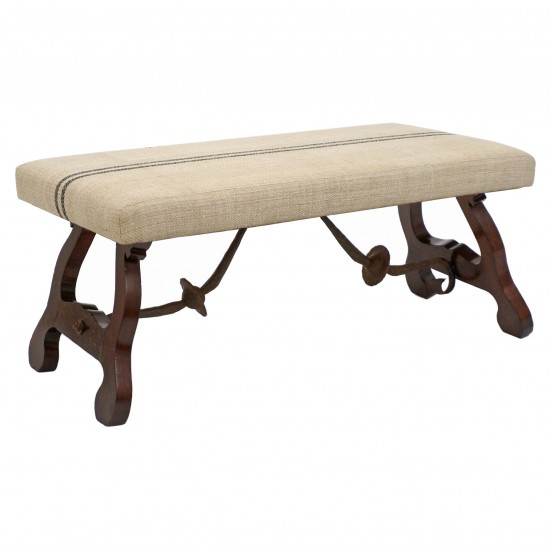 Wooden Bench with Iron Stretcher