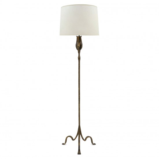 Gilt Iron Standing Lamp with Hammered Standard