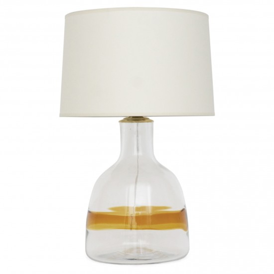Large Glass Table Lamp with Yellow Stripe