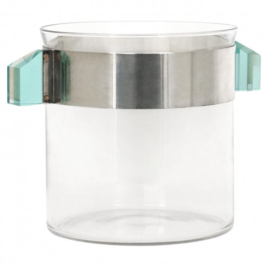 Large Glass and Silver Plate Champagne Bucket