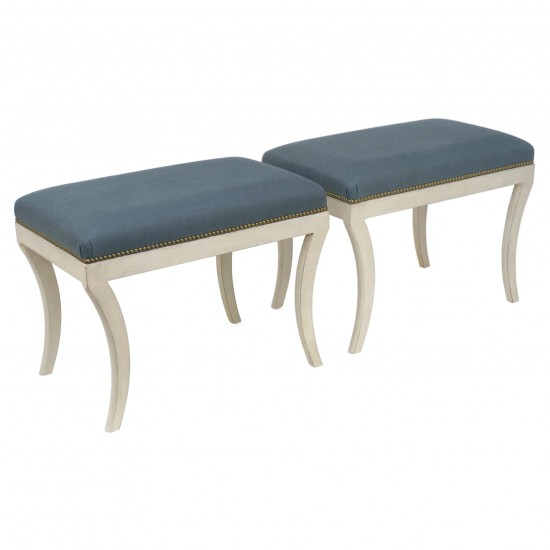 Pair of Painted Benches with Incurvate Legs