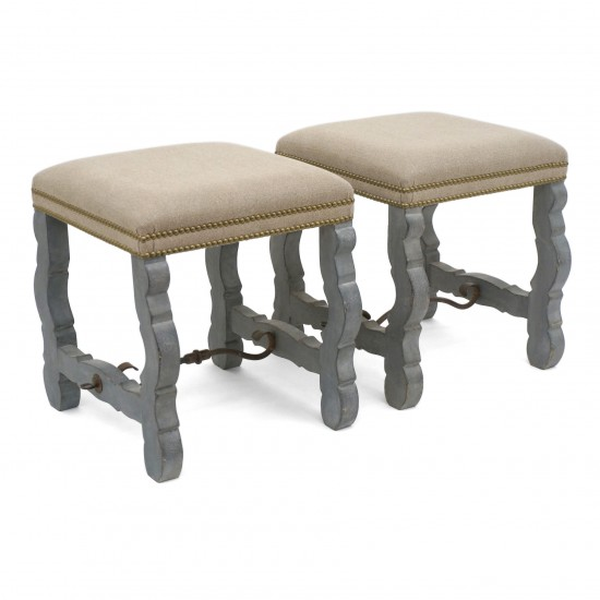 Pair of Painted Os de Mouton Style Benches