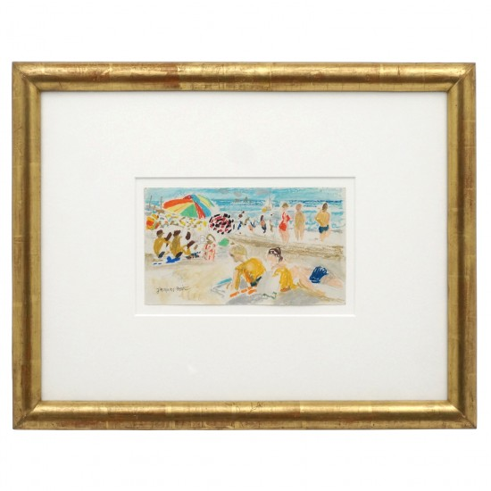 Watercolor and Pastel Beach Scene by Jacques Petit