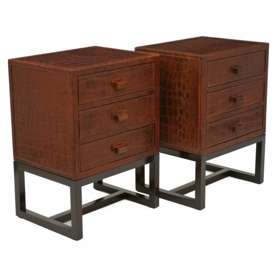 Pair of French Faux Crocodile Leather Clad Night Tables