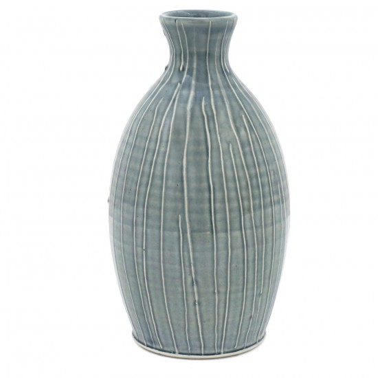 Light Blue Striped Porcelain Vase