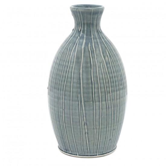 Light Blue Striped Porcelain Vase