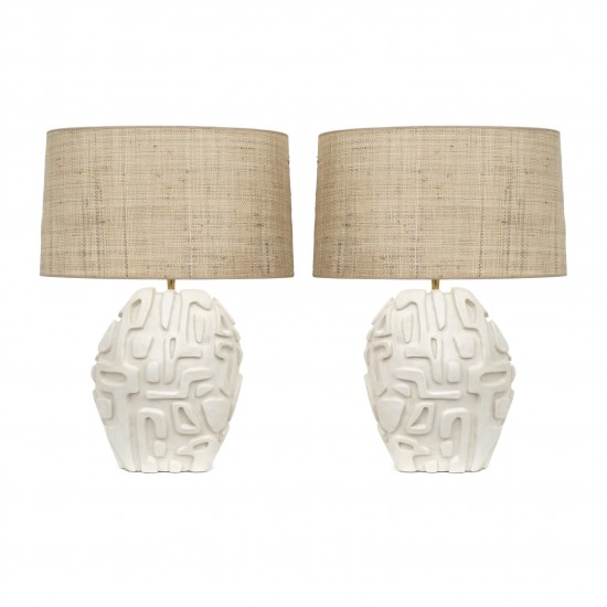 Pair of Carved White Plaster Lamps