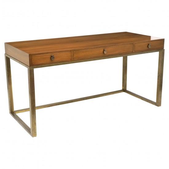 French Walnut Desk on Brass Base