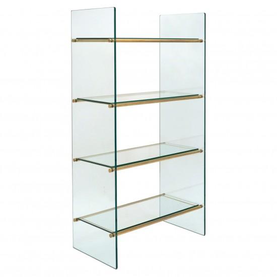 Four Shelf Brass and Glass Etagere