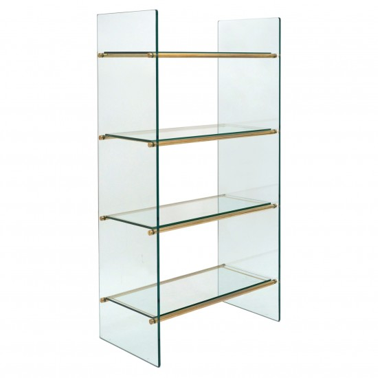 Four Shelf Brass and Glass Etagere