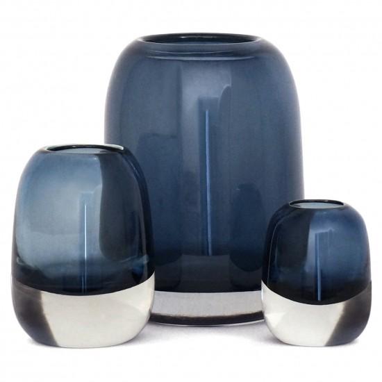 Set of Three Molded Blue Glass Vases