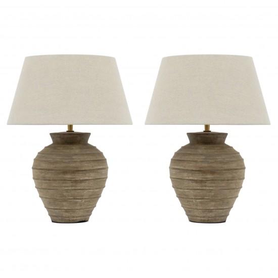 Pair of Ribbed Ceramic Table Lamps