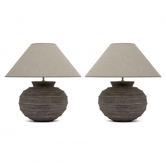 Pair of Large Ribbed Ceramic Table Lamps