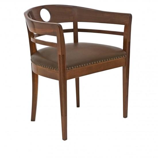 Austrian Curved Back Oak Chair
