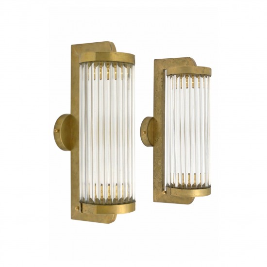 Pair of Brass and Glass Rod Sconces