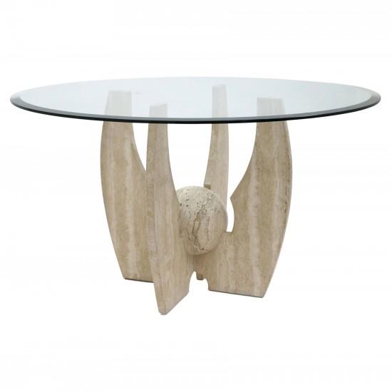 Travertine and Glass Circular Table