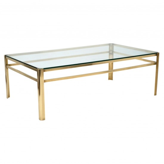 Brass and Glass Coffee Table by Malabert