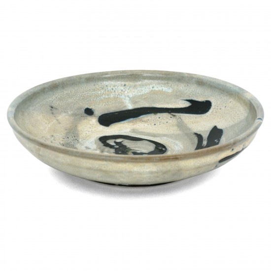 French Abstract Ceramic Bowl in Light Blue, Black and White