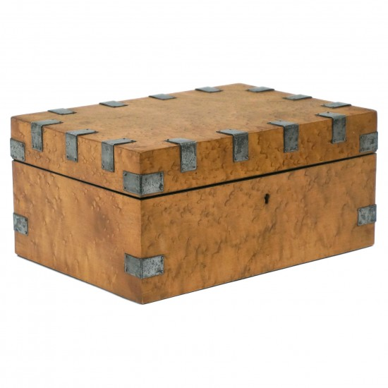 Birdseye Maple Box with Cut Steel Decoration