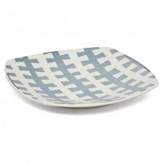 "Square ""Zipper"" Porcelain Platter"