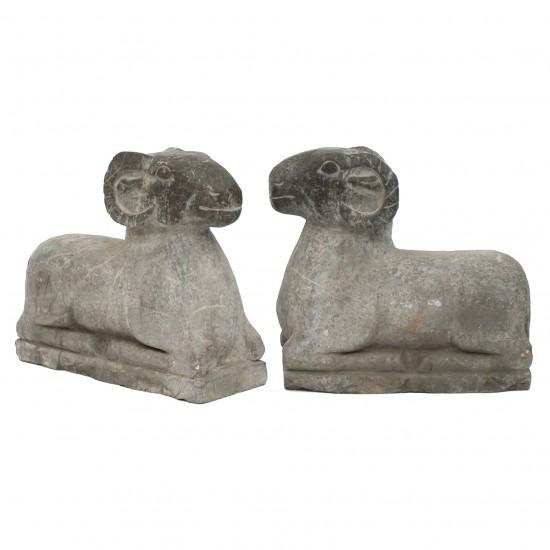 Pair of Marble Ram Sculptures