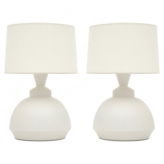 Pair of Italian White Matte Ceramic Lamps
