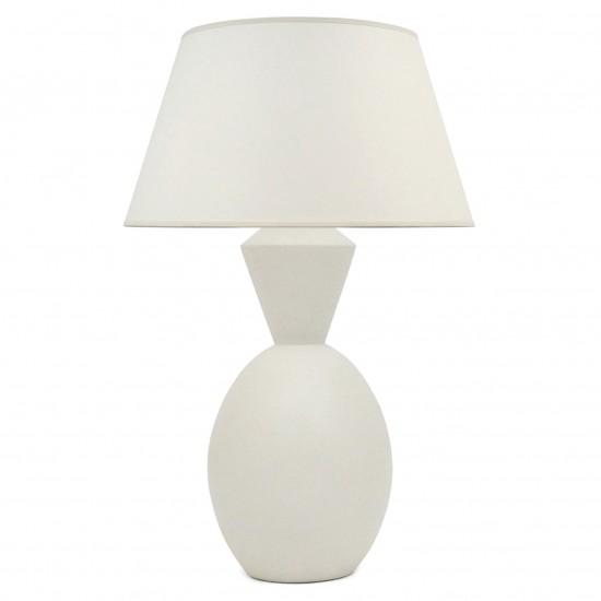 White Matte Shaped Ceramic Table Lamp