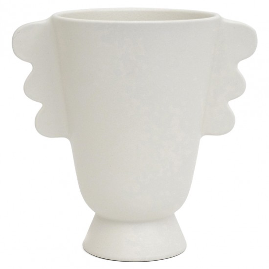 White Matte Vase with Side Handles