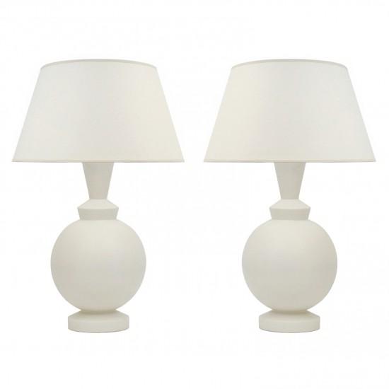 Pair of White Matte Ceramic Table Lamps
