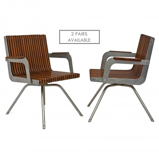 Pair of Italian Teak and Steel Arm Chairs